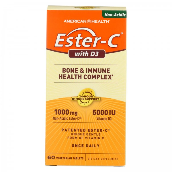 American Health Ester-C with D3 Bone and Immune Health Complex - 60 Tablets