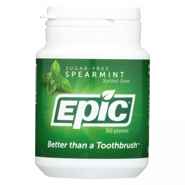 Epic Dental Spearmint Gum - Xylitol Sweetened - 50 Count