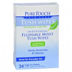 Puretouch Tush Wipes Flushable - 24 Wipes