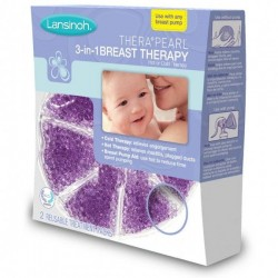 Lansinoh TheraPearl 3-in-1 Breast Therapy Pack, Hot or Cold use for Nursing Mothers to decrease Engorgement, encourage Let-Down and increase Milk Production, use with any Breastpump, 2 Count, 2 Covers